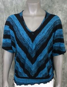Cato dolman sleeve sweater V-neck striped Women's size L casual wear to work #Cato #Sweater #Work