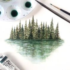 A tree line painting with a reflection, it's very similar to my previous pine tree paintings except I added a bit of white to create lighter and darker areas for the water reflection and a hint of blue but it's not very noticeable. Watercolor Sunflower, Green Watercolor, Watercolor Trees, Easy Watercolor, Watercolor Paintings, Watercolor Paper, Pine Tree Painting, Tree Paintings, Reflection Art