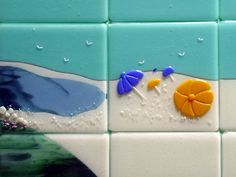 Beach Themed Fused Glass Tiles (Nantucket) | Designer Glass Mosaics | Designer Glass Mosaics