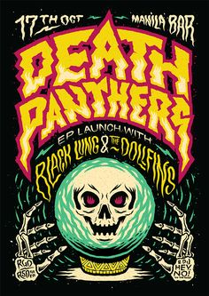 Ian Jepson — There's a new poster up for Death Panthers that I. Graphic Design Posters, Graphic Design Typography, Graphic Design Illustration, Graphic Design Inspiration, Kunst Poster, Poster S, Rock Posters, Band Posters, Music Posters