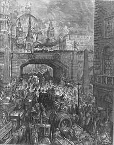 Ludgate Hill - A Block in the Street by Gustave Dore, French, 1832-1883, illustration for London, A Pilgrimage, 1872.