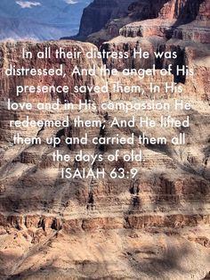 Isaiah In all their distress He was distressed, And the angel of His presence saved them, In His love and in His compassion He redeemed them; Scriptures, Verses, Amplified Bible, Free Reading, Compassion, Carry On, Angel, Day, Hand Luggage
