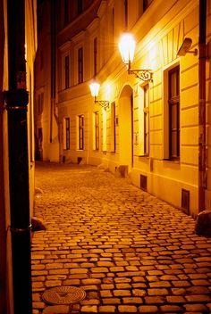 The cobblestone streets