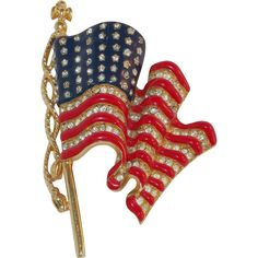 Trifari – Patriotic U.S. waving flag enamel and rhinestone brooch - Beautiful