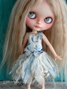 Blythe doll outfit  *Bluebell fairy* OOAK grunge vintage embroidered dress by marina, $65.00 USD