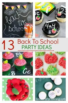 13back to school party ideas that the kids will be absolutely thrilled with. Filled with simple ideas for fun food and decorations to create a party to remember.These DIY party ideas will help the kids ease into the end of summer and back into school. Back To School Party, School Parties, Summer Parties, School Fun, School Hacks, Summer School, School Stuff, Graduation Party Themes, Party Themes For Boys