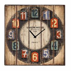 Vintage Ξύλινο Ρολόι Τοίχου Τετράγωνο Union Hotel 48 cm | Echo Deco