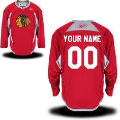 Reebok Chicago Blackhawks Men's Practice Team Custom Jersey - Red - $119.99