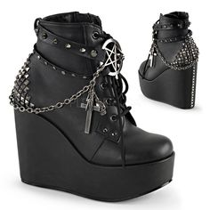 "5"" Wedge Platform Lace-Up Front Ankle Bootie Featuring Wrap Around Studded Straps w/Pentagram Detail, Chain w/Charms of Cross, Skull, Lighting bolt, Safety Pen & Pyramid Studs at Back, Inside Zip Closure"