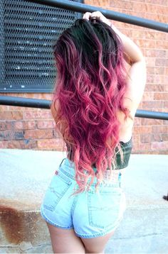 black to pink ombre hair - Google Search