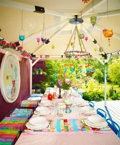 colorful garden setting