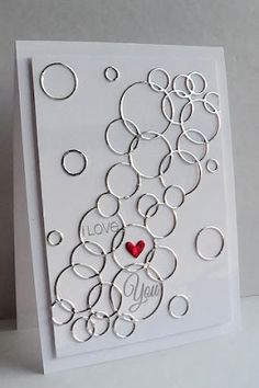 Memory Box Loopy Rings die in silver - Love / wedding card - bjl