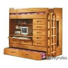 DIY plans (to buy) for this awesome all-in-one storage/daybed/loft/desk for the bedroom