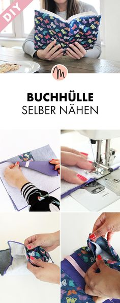 Buchhülle selber nähen - Näh-Anleitung via Makerist.de You are in the right place about sewing projects fat quarter Here we offer you the most beautiful pictures about the sewing projects for the home Fabric Crafts, Sewing Crafts, Sewing Projects, Baby Knitting Patterns, Sewing Patterns, Diy Mode, Diy Couture, Upcycled Crafts, Do It Yourself