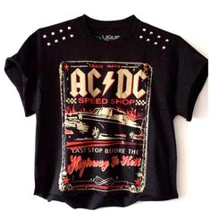 ACDC Studded Tee (£15) found on Polyvore featuring tops, t-shirts, shirts, crop t shirt, purple tee, shirt crop top, purple top and studded t shirt