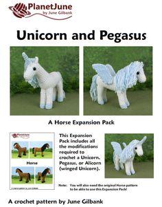 Horse, Unicorn and Pegasus - THREE amigurumi crochet patterns                                                                                                                                                                                 More