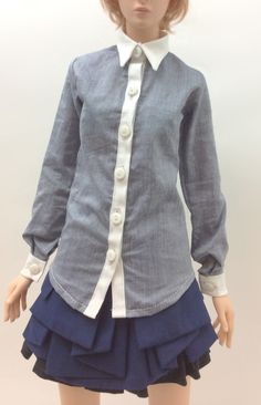 2 tone long sleeve shirts (Grey & White) OS-160 OUGI SAIGON order-made studio for 1/3 scale Doll