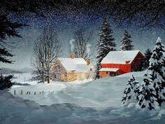 Snowfall in winternight - Winter Wallpaper ID 1233737 - Desktop Nexus Nature Swan Painting, Winter Painting, Winter Art, Winter Time, Snow Scenes, Winter Scenes, Christmas Scenes, Christmas Art, Christmas Night