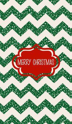 Glitter green chevron Merry Christmas