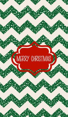 Glitter green chevron Merry Christmas