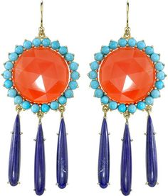 Irene Neuwirth carnelian and lapis chandelier earrings.
