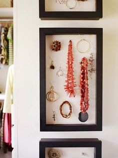 shadow boxes can be used to organize your jewelry...