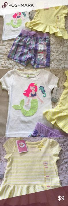 🌴NWT Set of 12 month summer clothing NWT 12 month clothing. One pair of Jumping Beans Shorts, yellow striped peplum Circo top and Carter's short sleeve mermaid tee. Never worn, smoke free home Other
