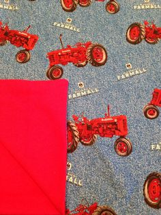 Large Baby Blanket, Red Tractor Blanket, Farmall Tractors, Receiving Blanket, Baby Shower Gift on Etsy, $21.00