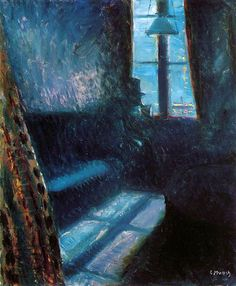 By Edvard Munch.  ~Ohhh, a  resemblance to the first blue mornings alone. Too dead to make coffee...for some weeks anyway, before sunlight, children and dirty laundry smacked me in the head. I'm now into French press. Thank you Mr. Munch for the flashback. Uh, you can go home now.~ Tina