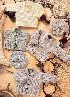 PDF Digital Download Vintage Knitting Pattern Baby Toddler Childs ARAN TUNIC JACKET WAISTCOAT BERET Chest 16-24 I Free Aran Knitting Patterns, Baby Sweater Patterns, Baby Cardigan Knitting Pattern, Baby Patterns, Vintage Patterns, Boy Crochet Patterns, Gilet Crochet, Crochet Baby, Knitted Baby