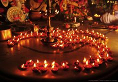 "Diyas (Lamps) in Hindu ""OM"" formation"