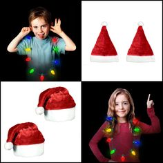 5aab74792c Red Velvet Santa Hat W/White Cuffs 2Pack + LED Light Up Xmas Bulb Necklace  4Pack #WindyCityNovelties
