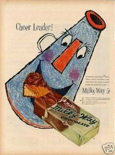 "Mars Milky Way Candy Bar Ad ""Cheer Leader"" (1954) https://en.wikipedia.org/wiki/Milky_Way_(chocolate_bar)"