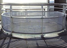 Perfrated Metal Railing  Perforated steel is extremely versatile and applies itself to a variety of applications such as balustrade infill panels, railings infill panels, acoustics and sound proofing, security screens, louvres and ventilation, and air conditioning grilles.    #sheet #steel #perforatedmetal #mesh #sheets #metal #handrail #perforated Security Screen, Metal Railings, Perforated Metal, Shop Fittings, Metal Mesh, Sound Proofing, Stage Design, Conditioning, Screens