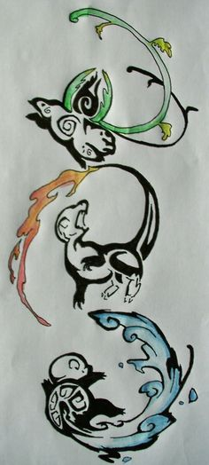 Pokemon tattoo drawing    OMG YES!!! -- I'd want one of Pikachu, of course X3