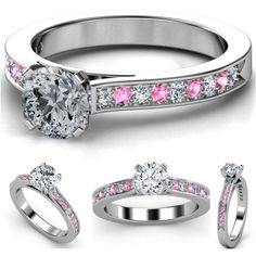 Diamond Engagement Ring Pink Sapphires & Diamonds band