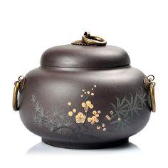 El envío Libre de Pu'er Té Caddy Caja Pintada Púrpura Arcilla Despierta Cajas De Gran Contenedor de Alta Calidad Entrega Rápida(China (Mainland))
