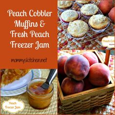 Mommy's Kitchen - Recipes From my Texas Kitchen: Peach Cobbler Muffins & Fresh Peach Freezer Jam. Both recipes are easy peasy. Yummy Treats, Delicious Desserts, Yummy Food, Peach Freezer Jam, Breakfast Recipes, Dessert Recipes, Brunch Recipes, Summer Recipes, Great Recipes