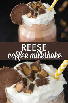 This Reese Coffee Milkshake is a perfectly cold and sweet combination of ice cream, coffee, chocolate and peanut butter. Now this is my kinda coffee! Drink Recipes Nonalcoholic, Frozen Drink Recipes, Coffee Drink Recipes, Milkshake Recipes, Yummy Drinks, Smoothie Recipes, Milkshakes, Fun Drinks, Smoothies