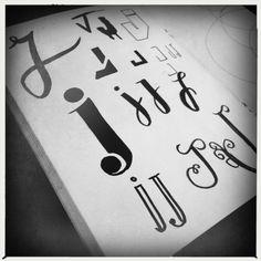 J, kleine letters, handlettering