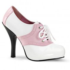 Saddle Shoe Pink and White Womens Oxford - New at ShoeOodles.com Price: $48.50  Fun pink and white saddle style oxford has a lace up front perforated details and 4 1/2 inch heel. A 3/4 inch hidden platform gives a bit of extra lift.  Eco-friendly all man-made sole with paded insole and non-skid sole.  #gothic #fashion #steampunk