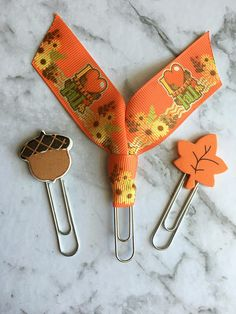 I Love Fall Clip Set 3 Piece Leaf Acorn Paperclips