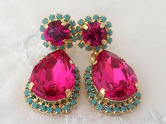 Items Similar To Ruby Fuchsia Hot Pink And Turquoise Chandelier Earrings Dangle Swarovski Rhinestones Drop Gold On