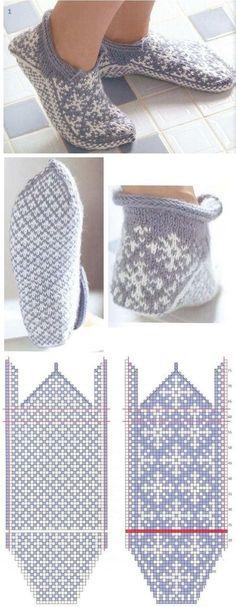 vяzаnie noskov s mыskа - colourwork slippers knitting pattern - strikking Knitting Charts, Knitting Stitches, Knitting Patterns Free, Free Knitting, Crochet Patterns, Start Knitting, Knitting Needles, Knitted Slippers, Knit Mittens
