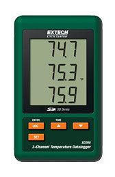 The SD200 3 Channel Data Logger Measures Temperature Using External Type K Thermocouple Sensor Probes.  Battery Operated with 1 Month Battery Life and AC Powered Adapter for Backup.  Stores 2 Million Temperature  Readings onto removable SD Card for Easy Data Export and Analysis. Visit MicroDAQ.com for more Details