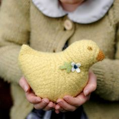 Wool chick  natural toy  yellow with WHITE felt by fullcirclewool,