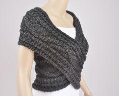 Hand knit vest, Cross Sweater, Capelet, Neck warmer in Charcoal / dark grey. $58.00, via Etsy.