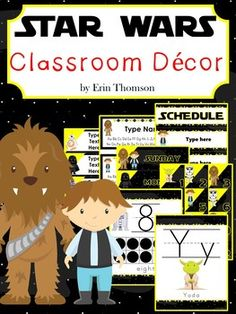 **New product! 50% off until Thursday, April 6th!**If your students are Star Wars obsessed, then this packet is the perfect way to transform your classroom into a space they will LOVE!Non-editable items included: Alphabet Posters A-ZNumber Posters 0-20Days of the WeekMonths of the YearWelcome BannerEditable items included: BannersName PlatesScheduleLabelsAlphabet Poster Words: A-AT-AT WalkerB-BB-8C-C-P30D-Death StarE-Endor (planet)F-FinnG-Geonosis (planet)H-Han SoloI-Imperial…