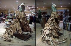 """Created for Anthropologie Willowbend holiday 2008.  Wood Skirt: cedar roofing shingles, brass screws, brass hinges, gold leaf  shingles."""