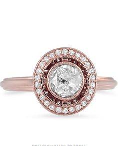 Rose Cut Vintage Halo Diamond Ring